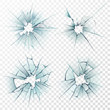 Broken glass. Cracked texture on mirror, smashed windows or damaged car windshield. Realistic crack hole vector set