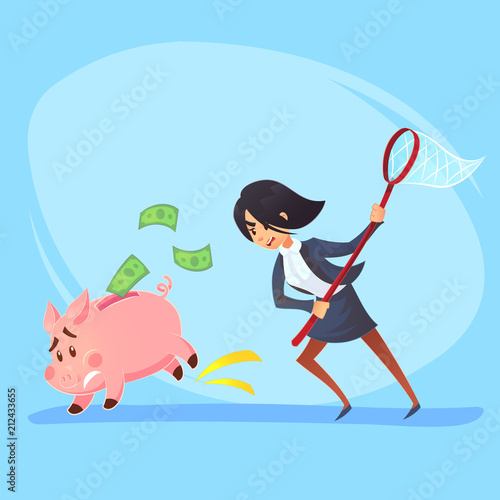 Poor bankrupt businesswoman office worker character running chase piggy bank with net Canvas Print