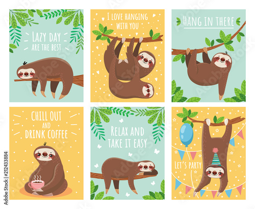 Obraz Greeting card with lazy sloth. Cartoon cute sloths cards with motivation and congratulation text. Slumber animals illustration set - fototapety do salonu
