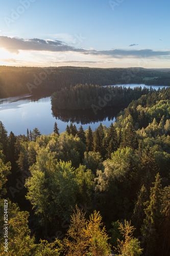 Foto op Canvas Scandinavië Scenic and beautiful view of a lake and forests from Aulanko's observation point in Hämeenlinna, Finland, at morning in the summer.