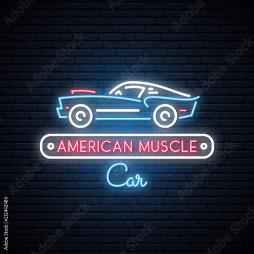 Plakat Neon silhouette of classic American muscle car. Glowing sign. Auto icon. Vector illustration.