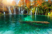 Amazing Autumn Landscape With Waterfalls In Plitvice National Park, Croatia