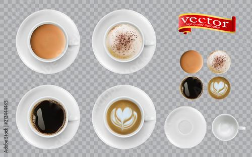Fototapeta Coffee top view. Mugs with espresso cappuccino cocoa americano. obraz