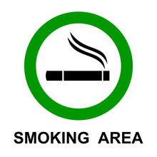Smoking Area, Cigarette Sign -...