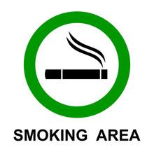 Smoking Area, Cigarette Sign - Stock Vector