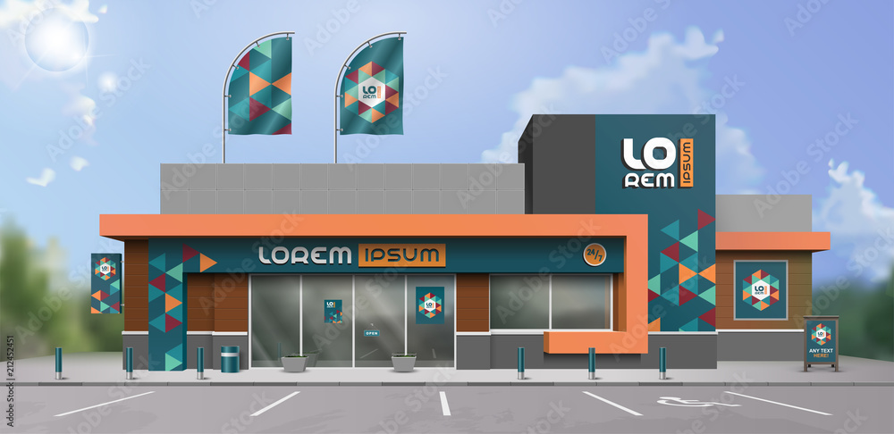 Fototapeta Blue store design with color geometric shapes. Elements of outdoor advertising. Corporate identity