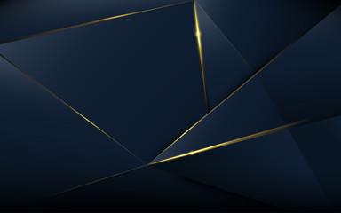 Streszczenie wzór wielokąta luksus ciemny niebieski ze złotem
