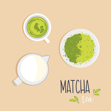 A Cup Of Green Matcha Tea With Milk Pitcher And Powdered Matcha Tea On A Saucer. Top View. Vector Flat Illustration.