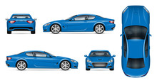 Blue Sports Car Realistic Vect...