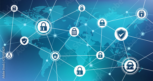 Photo security concept: safe network / online security / blockchain - vector illustrat