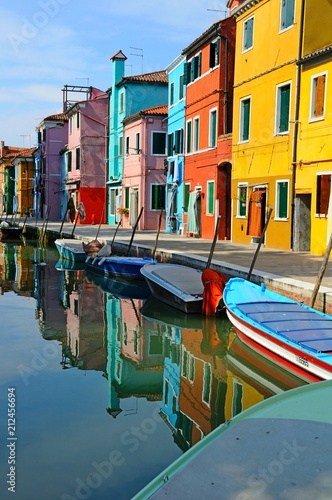 Photo Stands Ship Canal with colorful buildings and houses in Burano island, Venice, Italy - Famous Architecture and landmarks