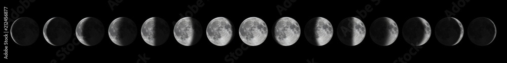Fototapety, obrazy: Phases of the Moon. Moon lunar cycle.