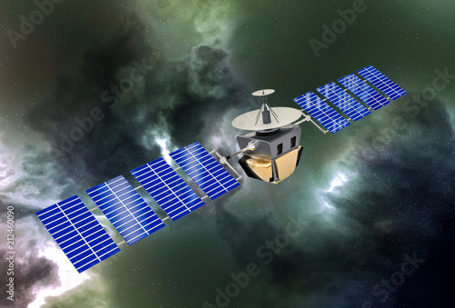 Valokuva  artificial satellite concept 3D rendering in the space green nebula