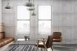 Leinwandbild Motiv loft room with concrete wall