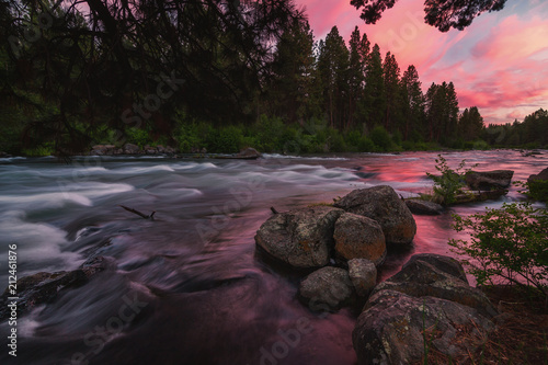 Canvas Print Deschutes River at Sunset