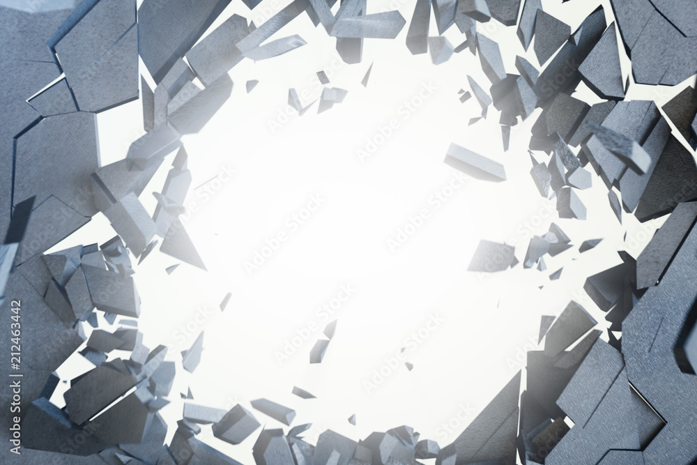 Fototapeta Cracked earth abstract background with volume light rays. Cracked concrete earth abstract background. 3D Rendering