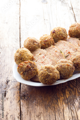 Poster Assortiment Fried meat meatballs in oil