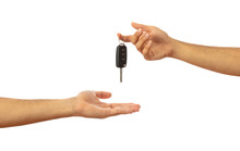 Handing Over The Car Key. Hand...