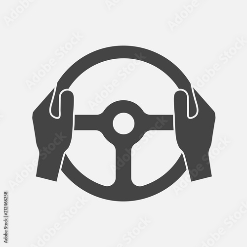 Fotografiet Vector icon of car steering wheel and driver's hands