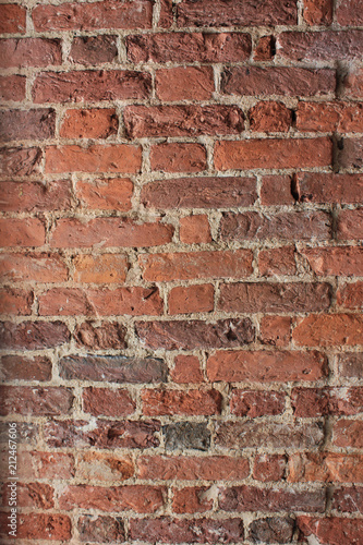 Photo  Brick Wall Old Weathered Red Stone Texture Background