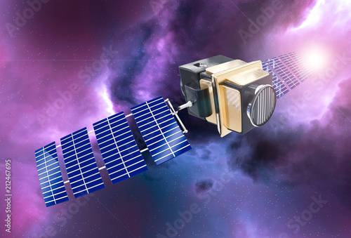 Valokuva  artificial satellite concept 3D rendering in the space purple nebula and sun