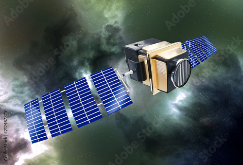 artificial satellite concept 3D rendering in the space green nebula Canvas-taulu