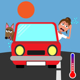 hot in the car with girl and dog