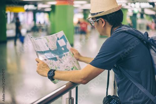 Man Looking At Subway Map.Young Man Asian Traveler Looking Map At Hong Kong Subway Station Mtr