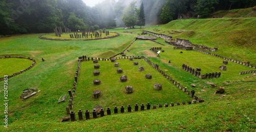 In de dag Historisch geb. Old fortress Sarmizegetusa Regia