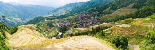 Canvas Prints Guilin Panorama of Longji Rice Terraces - Dragon's Backbone - with village in background