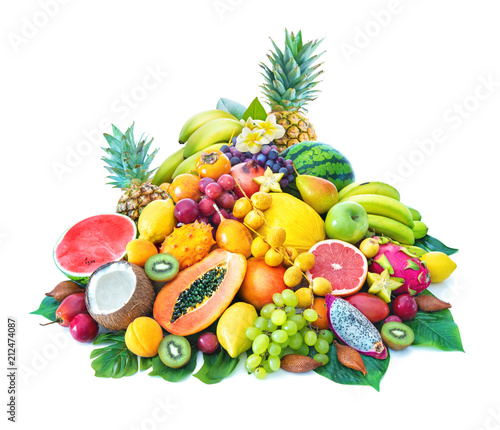 Assortment of tropical fruits with palm leaves and exotic flowers Wall mural