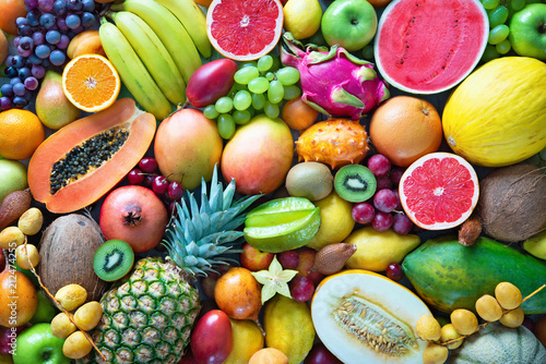 Foto auf AluDibond Fruchte Assortment of colorful ripe tropical fruits. Top view