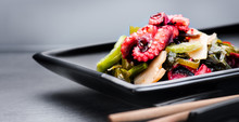 Japanese Salad With Octopus And Ginger. Healthy Food. Seafood Closeup