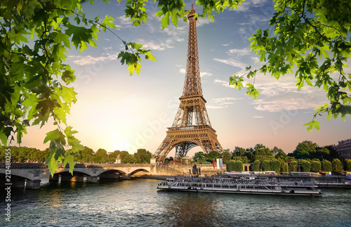 Poster Historisch geb. River Seine and Eiffel Tower