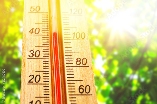 Fotografie, Obraz  Thermometer displaying high 40 degree hot temperatures in sun summer day
