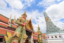 Giant Statue With Pagoda In Wat Phra Kaew /  Wat Phra Kaew Public Landmark In Thailand