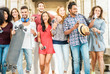 canvas print picture Happy millennials friends having fun together