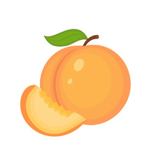 Guicy Peach Fruit Whith Green  Leaf And Peach Slice Vector Illus
