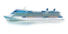 Big Cruise Ship Liner Ferry Isolated On White Background