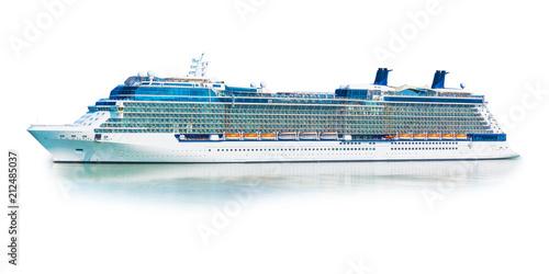 Carta da parati Big cruise ship liner ferry isolated on white background