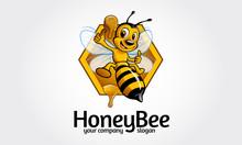 Honey Bee Logo Cartoon Charact...