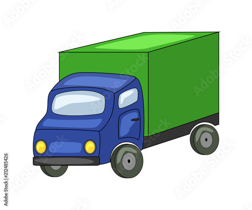 Foto op Canvas Cars Cute cartoon truck. Vector illustration isolated on white backgr