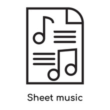 Sheet Music Icon Vector Sign A...