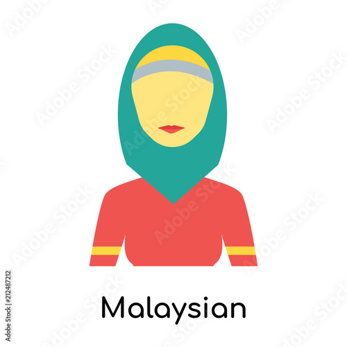 Fotografía  Malaysian icon vector sign and symbol isolated on white background, Malaysian lo