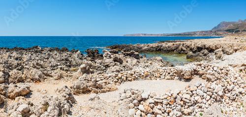 Tuinposter Kust Cala di Punta Lunga coast, Macari, Sicily, Italy