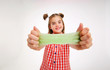 canvas print picture - A teenage girl and the green slime