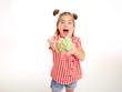 Leinwanddruck Bild - A teenage girl and the green slime