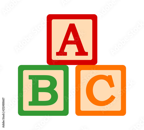 Photo ABC / ABCs toy blocks or cubes with letters for preschool learning flat vector c