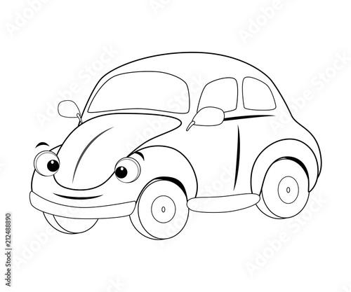 Staande foto Cartoon cars Colorless funny cartoon car. Vector illustration. Coloring page