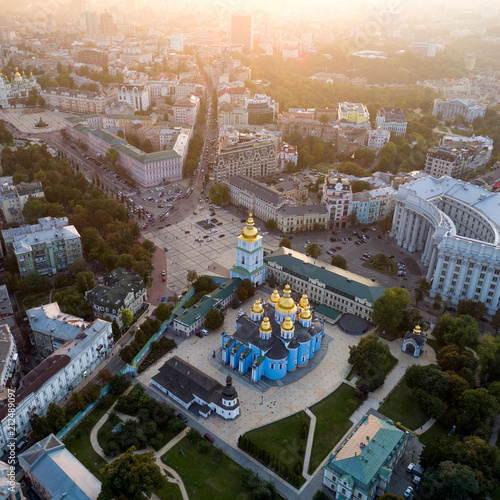 Foto op Canvas Kiev Beautiful panoramic view of the city of Kiev. Aerial view of St. Michael's Golden-Domed Monastery and Sophia Cathedral in the sunset. Ukraine